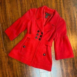 INC International Concepts Red Peacoat Coat Jacket